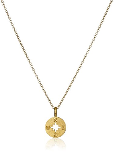 dogeared going places compass disc gold dipped chain