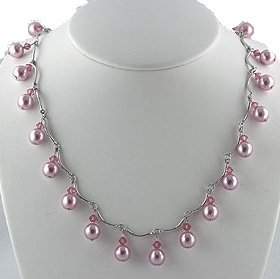 Dangling Pink Pearl, Silver and Crystal Necklace - Pink Bridesmaid Jewelry/Prom Jewelry