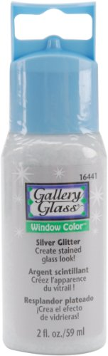 Plaid 16441 Gallery Glass Window Color, Silver Glitter, 2-Ounce Bottle front-860495