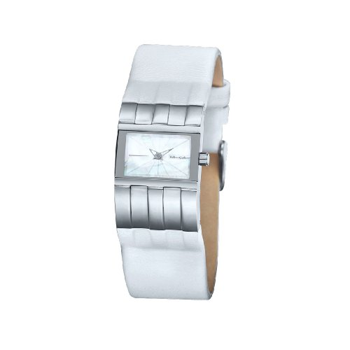 Black Dice Diva Watch BD 009 03 Analogue Watch with Stainless Steel Case and Genuine White Leather Strap