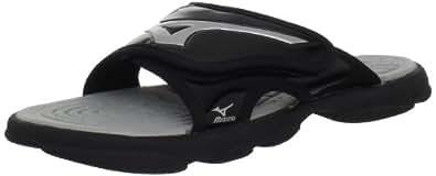 Mizuno Runbird Slide 6 BK-SL Sandal, Black/Silver, 10 M US