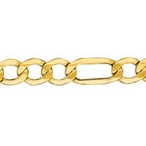 10K Solid Yellow Gold Figaro Lite Chain Necklace 6.5mm thick 18 Inches