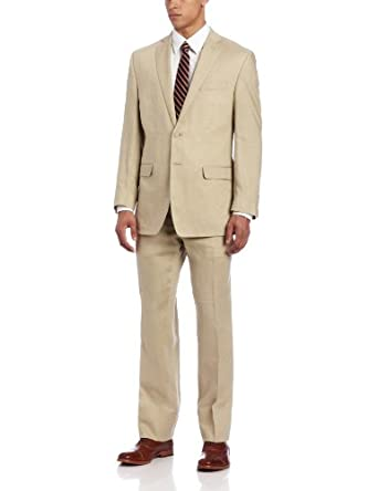 Calvin Klein Men's Malik Slim Fit Suit, Tan, 38 Short