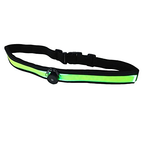2-TECH Doppelfach LED-Sportgürteltasche 4 verschiedene Modi in grün elastisch für jeden Bauchumfang einstellbar