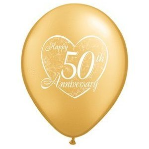 "(12) 50th Anniversary Latex Balloons 11"" Gold Color and Heart Design by Balloon"