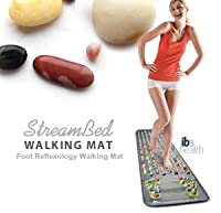 The StreamBed Foot Reflexology Walking Mat has an abundance of various-sized stimulation points for massaging the soles of your feet. It features soft plastic mat with a pleasing, colorful look. A life-sized foot reflexology diagram with stimulation point