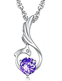 Glitz Fashion Silver Plated Crystal Stud Phoenix Pendant Necklace For Women
