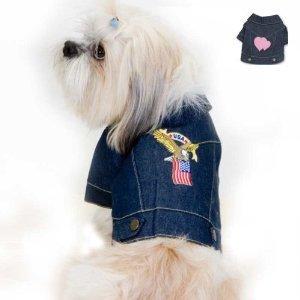 Denim Eagle and American Flag Dog Jacket (Medium)