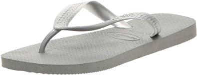 Havaianas Unisex-Adult Top Metallic Flip Flops Grey Silver 11/12 UK (EU 47/48)