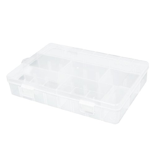 Clear White Plastic 3 Compartments Storage Case Box W 4 Removable Sheet front-166333
