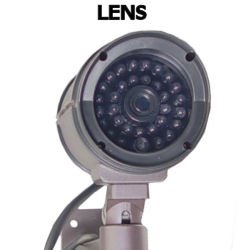 OUTDOOR FAKE / DUMMY SECURITY CAMERA w/ Blinking Light (dark grey)