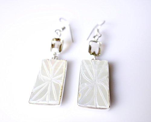 SHELL & SMOKY pietra preziosa del Topaz 925 STERLINA SOVRAPPOSIZIONE Handmade di modo ORECCHINI PER LE DONNE IN ARGENTO TIBETANO