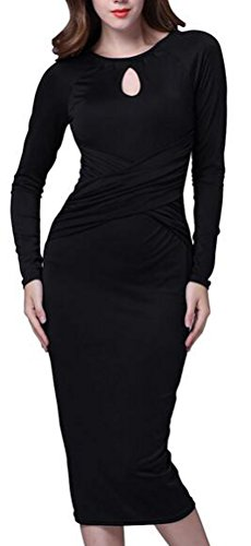 SunIfSnow - Maglietta - fasciante - Basic - Maniche lunghe  - donna Black Large
