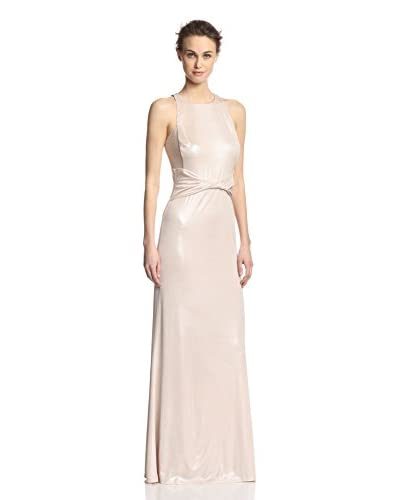 A.B.S. by Allen Schwartz Women's Draped Waist Gown with Mesh Insets  [Champagne]