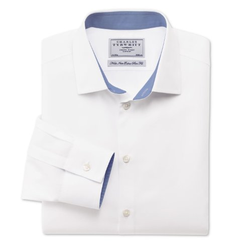 Charles Tyrwhitt White peached non-iron business casual extra slim fit shirt (17 - 37)