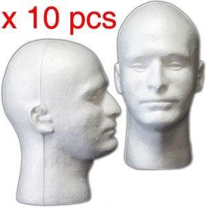 10 PIECES Male Styrofoam Mannequin Head Display