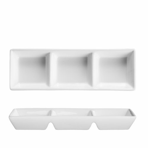 Fortessa Fortaluxe Vitrified China Rectangular 3-Compartment Dipping Tray, 7.25-Inch, Set Of 6