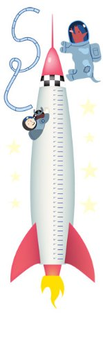 Wall Hugs Rocket Growth Chart Wall Decal