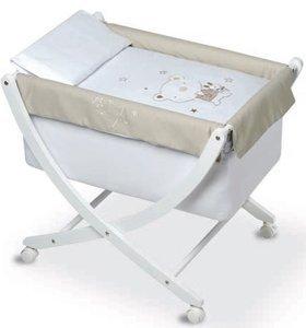 Pirulos 61113010–Minicuna, motivo orsetto Star, colore: bianco e lino