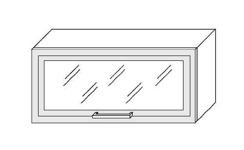 FW Küchenschrank Hängeschrank 80cm mit Klapptür Glas / Rahmen MDF