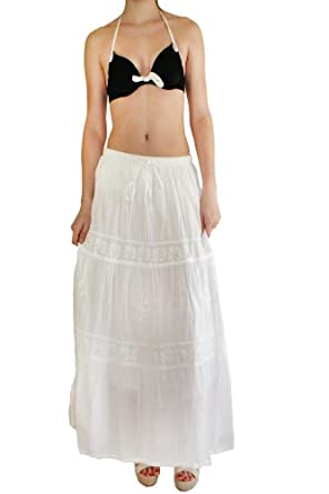 LibbySue-Easy, Breezy, Long and Mid-Length Peasant Skirt (Long White Embroidered Tiers)