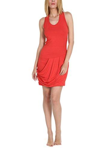 Elisabetta Giusti - Minidress con scollo all'americana in viscosa e seta, Colore: Rosso, Taglia: 42