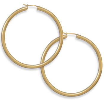 Sterling Silver 14 Karat Gold Plated 2.8mm x 50mm Hoops