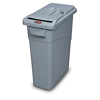Rubbermaid Commercial FG9W2500LGRAY Commercial 15-7/8-Gallon Slim Jim Confidential Document Container with Handles and Lid, Gray