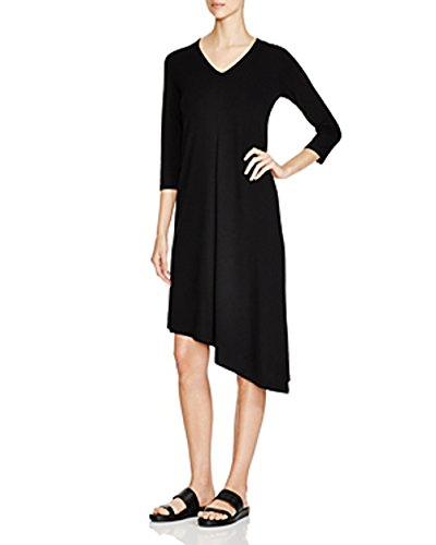 Eileen Fisher Asymmetrical V-Neck Dress, Black