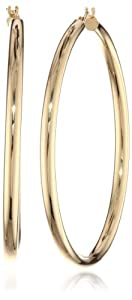 "Bonded 14k Gold and Sterling Silver Polished Hoop Earrings, (2"" Diameter) from Amazon Curated Collection"