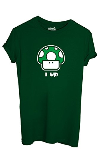 T-SHIRT 1UP FUNGO MARIO-GIOCHI by MUSH Dress Your Style - Uomo-S-VERDE BOTTIGLIA