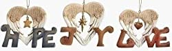 Pack of 12 Inspirational Hope, Love, Joy Heart Shaped Christmas Ornaments 4""