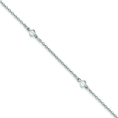 Sterling Silver 9 1 inch Ext 5 Fancy CZ 's Anklet: Length 9 in