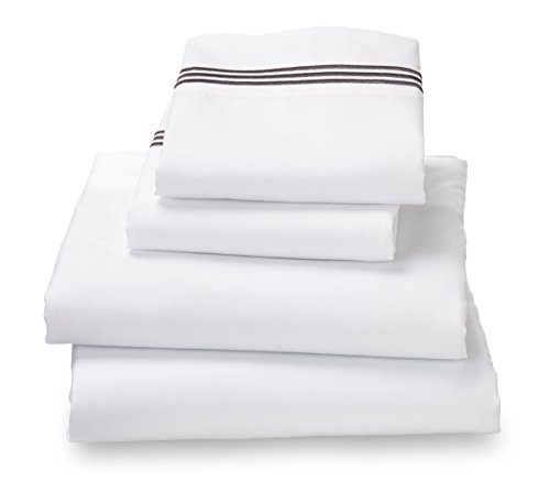 Queen White With Embroidered Gray Stripes Amadora Double Brushed Ultra Microfiber Luxury Bed Sheet Set.