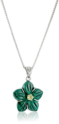 """Sterling Silver Malachite and Peridot Flower Pendant Necklace, 18"""""""