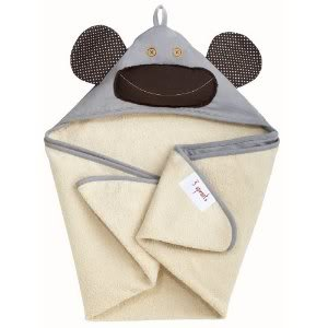 3 Sprouts Hooded Machine Washable Towel (Perfect Gift For Newborn Or Baby Shower) - Grey Monkey Baby / Child / Infant / Kid