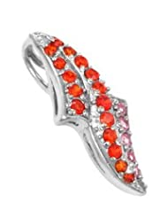 Exxotic Designed Fashionable Sterling Silver Orange And Pink American Diamond Pendant For Women