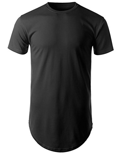 Mens Hipster Hip Hop Basic Long T-shirt with Zipper Trim (S, Black)