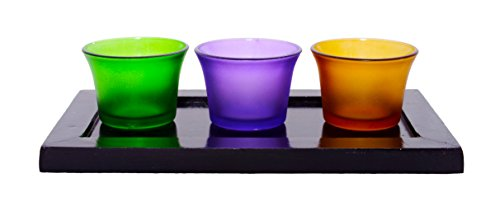 Lime Light Wood And Glass Votive Candle Holder ( 23cm X 13cm X 6cm, Set Of 3 Holders In A Tray, VOT-46 )