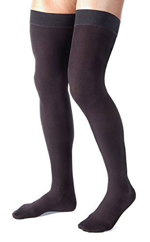 Made in USA - Medical Compression Stockings for Men - Thigh High with Grip Top - Closed Toe - Firm Graduated Compression 20-30mmHg - Ribbed Opaque Black, Size Large - Absolute Support A2017BL3 (Color: Black, Tamaño: Large)