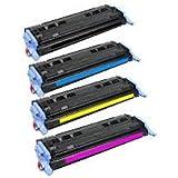 Set of 4 Compatible 124A Printer Toner Cartridge Fo HP Laserjet 1600 2600 2600N 2605 605DN 2605DTN MFP CM1015 CM1017, 1x Q6000A Black, 1x Q6001A Cyan, 1x Q6002A Yellow, 1x Q6003A Magenta