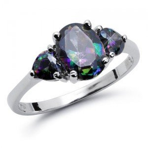 8MM Sterling Silver OVAL Rainbow Topaz Mystic HEART Shape Stones Engagement Ring (4)