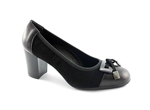 CINZIA SOFT IQ156 nero scarpe donna decolletè camoscio fiocco 40