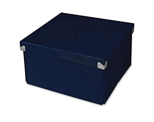 Pop n' Store Decorative Storage Box With Lid  - Collapsible and Stackable - Medium Square Box - Navy Blue - Interior Size (9.75
