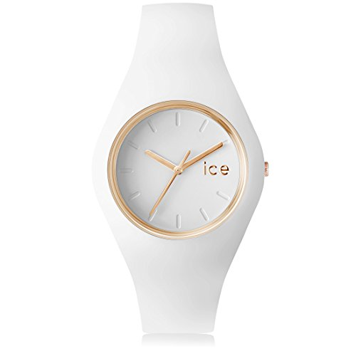 Ice Watch ICE.GL.WE.U.S.13 Orologio da Polso, Quadrante Analogico da Donna, Cinturino in Silicone, Bianco