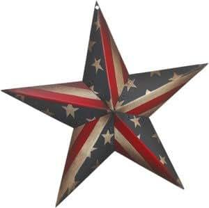 "Amazon Decorative Americana 12"" Tin Star Flag Tin"