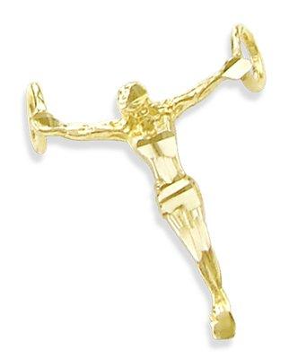 14K Yellow Gold Jesus Body Crucifix Small Charm Pendant