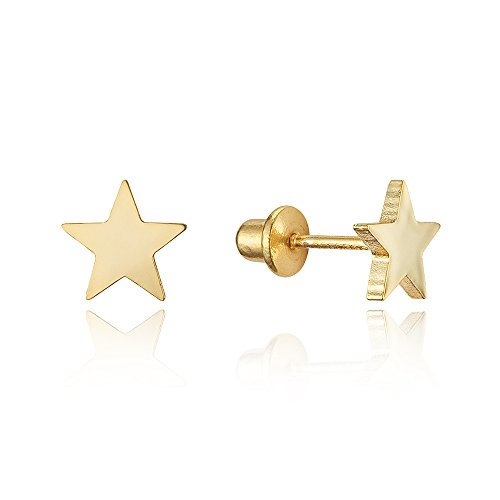 14k-Gold-Plated-Brass-Plain-Star-Screwback-Girls-Earrings-with-Sterling-Silver-Post