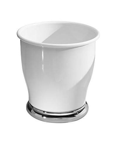 InterDesign Lora Waste Can, White/Chrome