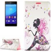 Fashion Lady Pattern Diamond Encrusted Horizontal Flip Leather Case with Holder Card Slots for Sony Xperia Z4